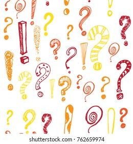 seamless pattern , exclamation and question mark , a color on white background