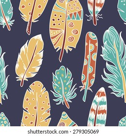Seamless pattern with exotic or Indian feathers. Wildlife concept made in vector. For your design, textile, fabric, surface textures, packaging, scrapbooking, party decorations, gift wrap.