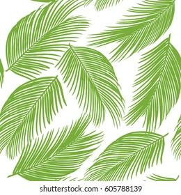 Seamless pattern of exotic palm trees. Green leaves. Background