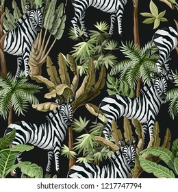 Seamless pattern with exotic trees and wild zebra.