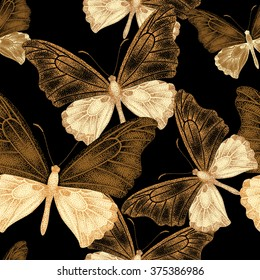 Seamless pattern with exotic tropical butterflies on black background. Series unique design with gold foil. Template for making paper, wallpaper, fabrics, textiles, packaging. Vintage Victorian style