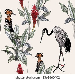 Seamless Pattern Exotic Tropical Forest Jungle with Wildlife Exotic Birds Hand Drawn Graphic Outline Ink Drawing Chinese Crane with Hoopoe Bird Pale Colors