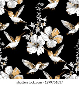 Seamless pattern. Exotic Tropical Hibiscus flowers and hummingbirds. Gold and silver composition on a black background. Textile composition, hand drawn style print. Vector illustration.