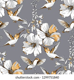 Seamless pattern. Exotic Tropical Hibiscus flowers and hummingbirds. Gold and silver composition on a gray background. Textile composition, hand drawn style print. Vector illustration.