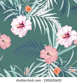 Seamless pattern with exotic tropical plant, palm leaves and pink hibiscus flowers. Tropical illustration. Jungle foliage.