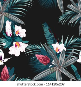 Seamless pattern with exotic tropical plants: protea, hibiscus, orchid. Green tropical plants on the black background. Vector seamless pattern. Tropical illustration. Jungle foliage.