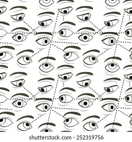 Seamless Pattern with Eyes Looking and Sight Tracks Represented by Dotted Lines. The vector file contains the pattern swatch.