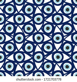 Seamless pattern with eyes magical pattern. Mystical icon hand drawn print. Cartoon style, sign esoteric, inspiration eye. Vector illustration