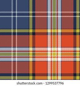 Seamless pattern fabric texture tartan plaid. Vector illustration.