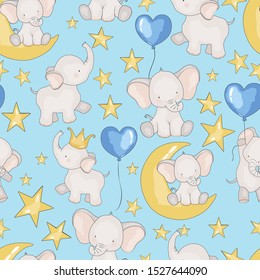 seamless pattern with fabulous elephants, wallpaper for baby