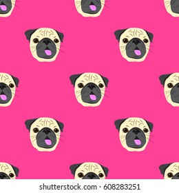 Seamless pattern with face of pug dog on pink background. Funny pug face