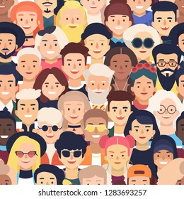 Seamless pattern with faces or heads of joyful people. Backdrop with crowd of old and young men and women. Colorful vector illustration in flat cartoon style for wrapping paper, textile print.