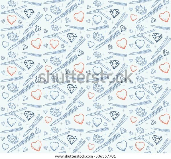 Seamless Pattern Faint Heart Knife Brass Stock Vector Royalty