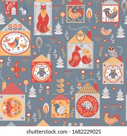 Seamless pattern with fairy houses with animals and birds on a grey textured background. Ornaments, Scandinavian style.