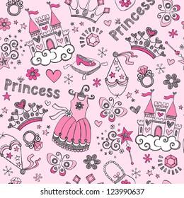 Seamless Pattern Fairy Tale Princess Tiara Crown Notebook Sketchy Doodle Design Elements Vector Design
