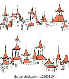 Seamless pattern with fairy tale town