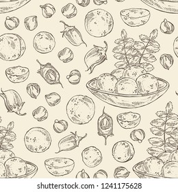 Seamless pattern with falafel in pita bread with vegetables: falafel, pita bread, tomato, lettuce and cucumber. Vegetarian fast food. Vector hand drawn illustration