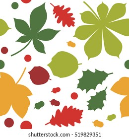 Seamless Pattern With Fall Leaves. Vector Background For Web, Print, Wallpaper And Other Design.