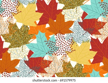 Seamless pattern with fall maple leaves. Vector illustration