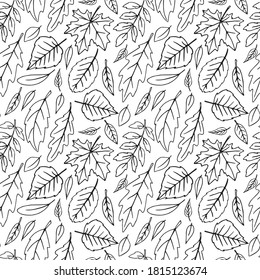 Seamless pattern falling leaves. Vector autumn texture isolated, hand drawn in sketch style, orange outline. Concept of forest, leaf fall, nature