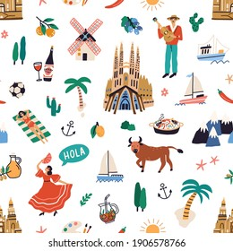 Seamless pattern with famous symbols of Spanish culture. Endless repeatable texture with buildings, dancers, guitar, bulls, food, wine of Spain. Colored flat vector illustration on white background
