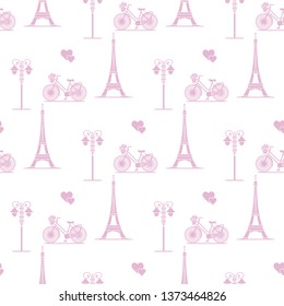 Фотообои Seamless pattern with famous tower, bicycle, lantern, hearts. Travel and leisure. Valentine's Day. Romantic background.