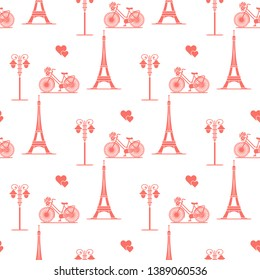 Seamless pattern with famous tower, bicycle, lantern, hearts. Travel and leisure. Valentine's Day. Romantic background.