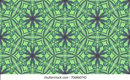 Seamless pattern. Fantastic colored snowflakes are located like bees' honeycombs. Drawing for wallpaper, textiles and holiday backgrounds. Green-gray tones.