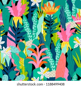 Seamless pattern with fantasy flowers, natural wallpaper, floral decoration curl illustration. Paisley print hand drawn elements. Abstract jungle