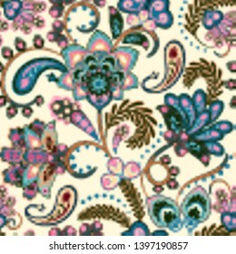 Seamless pattern with fantasy flowers, natural wallpaper, floral decoration curl illustration. Paisley print hand drawn elements. Home decor. Vector. Pastel blue pink on white