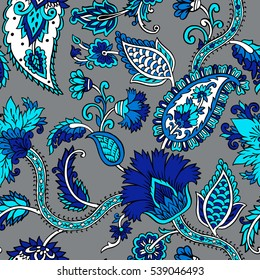 Seamless pattern with fantasy flowers, natural wallpaper, floral decoration curl illustration. Paisley print hand drawn elements. Block print.
