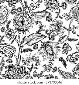 Seamless pattern with fantasy flowers, natural wallpaper, floral decoration curl illustration. Paisley print hand drawn elements.