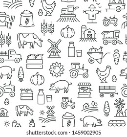 Seamless pattern with farming and agriculture. Black and white thin line icons