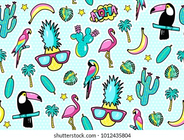 Seamless pattern with fashion patch badges with toucan, flamingo, parrot, exotic leaves, hearts, stars, speech bubbles, pineapple. Vector illustration in cartoon 80s-90s style.