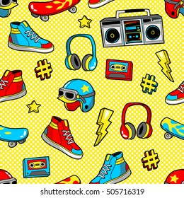 Seamless pattern with fashion patch badges with skateboard, helmet, sneakers, headphones, tape recorder, etc. Vector background with stickers, pins, patches in cartoon 80s-90s pop-art comic style.