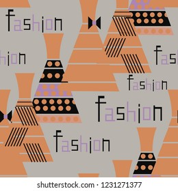 Seamless pattern with fashionable dresses and the word fashion.