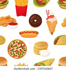 seamless pattern from fast food icons on white background. Cartoon style. Vector illustration. For packaging, advertisements, menu. Burger, pizza, burito, tacos, hotdog.