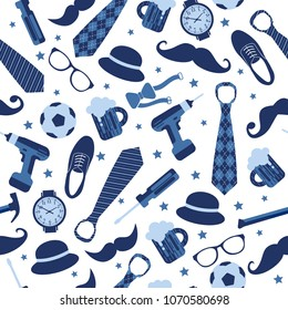 Seamless pattern of Fathers day. Flat set icons on white background.