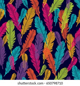 Seamless pattern with feathers.