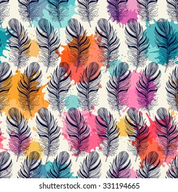 Seamless pattern with feathers. Freehand drawing