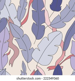 Seamless pattern with feathers and ribbons