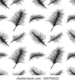 Seamless pattern of feathers; vector elegant background;