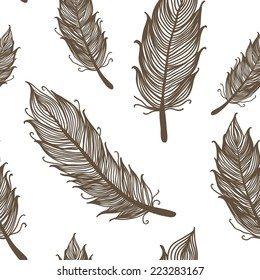 Seamless pattern with feathers, vector illustration