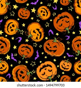 Seamless pattern with festive Halloween pumpkins. Jack orange lantern drawn with carved faces. Repeat tile swatch with purple bats, orange icons and yellow stars for scrapbook, fabric, wrapping paper