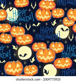 Seamless pattern with festive Halloween pumpkins. Jack orange lantern drawn with carved faces. Repeat tile swatch with happy halloween text, moon, and bats for scrapbook, fabric, wrapping paper