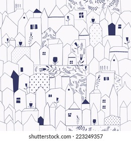 Seamless pattern. Figure cities in vintage style. Doodle design for cloth, paper, cards, greetings, scrapbook. Blue color.