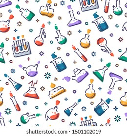 seamless pattern with filled icons - laboratory flasks, measuring cup and test tubes for diagnosis, analysis, scientific experiment. Chemical lab and equipment. Isolated vector endless texture