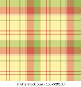 Seamless pattern in fine cozy yellow, red and green colors for plaid, fabric, textile, clothes, tablecloth and other things. Vector image.