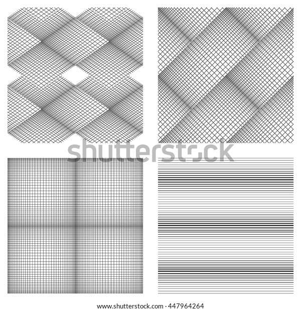 Seamless pattern of fine lines. Vector background. Black-and-white drawing. Set of 4 elements