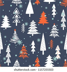 Seamless pattern with fir trees, snow. Colorful background vector. Design illustration. A lot of fir-trees. Decorative wallpaper, good for printing. Happy New Year. Winter time